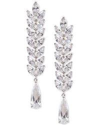 Nina - Silver-tone Cubic Zirconia Linear Drop Earrings - Lyst