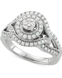 Macy's - Diamond Halo Engagement Ring (7/8 Ct. T.w.) In 14k White Gold - Lyst