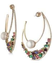 "Carolee - Gold-tone Multicolor Crystal & Freshwater Pearl (10mm) 2-1/4"" Statement Hoop Earrings - Lyst"