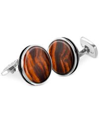 M-clip - Bordered Round Wood Cufflinks - Lyst