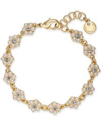 Charter Club - Gold-tone Crystal & Imitation Pearl Flower Link Bracelet, Created For Macy's - Lyst