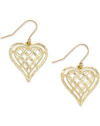 Macy's - Openwork Heart Drop Earrings In 10k Gold - Lyst