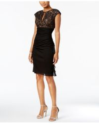 Betsy & Adam - Ruched Lace Sheath Dress - Lyst