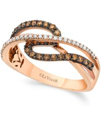 Le Vian - Chocolate And White Diamond (3/8 Ct. T.w.) Ring In 14k Rose Gold - Lyst