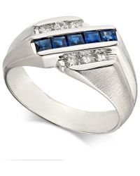Macy's - Sapphire (7/8 Ct. T.w.) & Diamond (1/4 Ct. T.w.) Ring In 14k White Gold - Lyst
