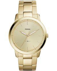Fossil - Minimalist Gold-tone Stainless Steel Bracelet Watch 44mm - Lyst