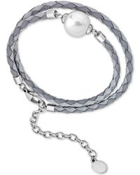Majorica - Silver-tone Imitation Pearl Braided Leather Double-wrap Bracelet - Lyst