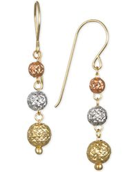 Macy's - Tri-color Textured Ball Triple Drop Earrings In 10k Yellow, White And Rose Gold - Lyst