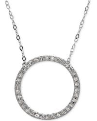 Macy's | Diamond Circle Pendant Necklace (1/10 Ct. T.w.) In 14k White Gold | Lyst