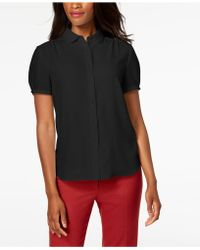 Anne Klein - Shirred Button-front Blouse, Created For Macy's - Lyst