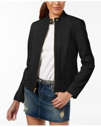 Cole Haan - Petite Snap-neck Leather Moto Jacket - Lyst
