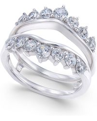 Macy's - Diamond Tiara Solitaire Enhancer Ring Guard (1-3/8 Ct. T.w.) In 14k White Gold - Lyst