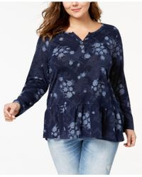 Style & Co. - Plus Size Printed Ruffled Henley Top - Lyst