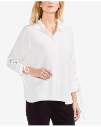 Vince Camuto - Lace-up Tie-sleeve Shirt - Lyst