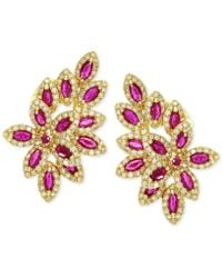 Effy Collection - Effy Ruby (2-1/2 Ct. T.w.) And Diamond (1 Ct. T.w.) Earrings In 14k Gold - Lyst