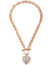 Guess - Two-tone Crystal Heart Pendant Toggle Necklace - Lyst