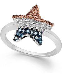 Macy's | Diamond Flag Star Ring In Sterling Silver (1/4 Ct. T.w.) | Lyst
