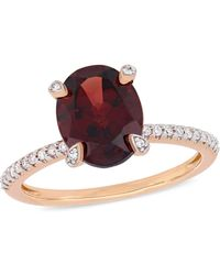 Macy's - Garnet (3 Ct.t.w.) And Diamond (1/10 Ct.t.w.) Ring In 10k Rose Gold - Lyst