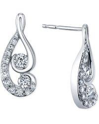 Macy's - Diamond Swirl Earrings (1/2 Ct. T.w.) In 14k White Gold - Lyst