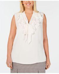 Kasper - Plus Size Ruffled Tie-neck Blouse - Lyst