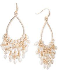 Carolee - Gold-tone Crystal & Imitation Pearl Drop Hoop Earrings - Lyst