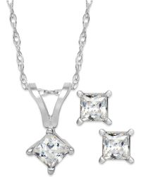 Macy's - Princess-cut Diamond Pendant Necklace And Earrings Set In 10k White Gold (1/10 Ct. T.w.) - Lyst