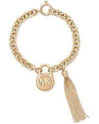 Michael Kors - Gold-tone Stainless Steel Padlock Charm & Chain Tassel Bracelet - Lyst