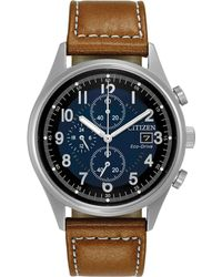 Citizen - Men's Eco-drive Chronograph Brown Leather Strap Watch 42mm Ca0621-05l - Lyst