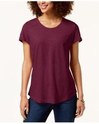 Style & Co. - Cuffed-sleeve Cotton T-shirt, Created For Macy's - Lyst