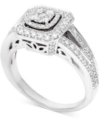 Macy's - Diamond Halo Cluster Engagement Ring (5/8 Ct. T.w.) In 14k White Gold - Lyst
