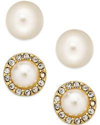 Charter Club - Gold-tone Kiska Imitation Pearl Stud Earring Duo - Lyst