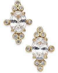 Kate Spade - Gold-tone Stone Oval Stud Earrings - Lyst