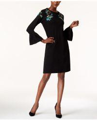 Olivia & Grace - Embroidered Bell-sleeve Mini Dress - Lyst