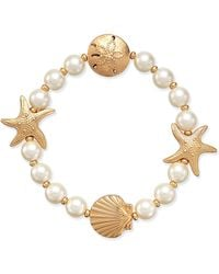 Charter Club - Gold-tone Imitation Pearl Sea Motif Stretch Bracelet - Lyst