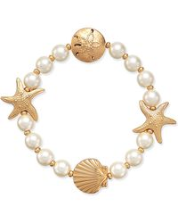 Charter Club | Gold-tone Imitation Pearl Sea Motif Stretch Bracelet | Lyst
