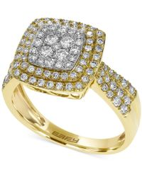 Effy Collection   Diamond Square Ring In 14k White, Yellow Or Rose Gold (3/4 Ct. T.w.)   Lyst