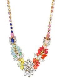 """Steve Madden - Gold-tone Stone & Crystal Flower 20"""" Statement Necklace - Lyst"""