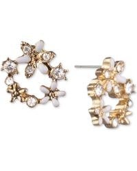Lonna & Lilly - Crystal Flower Open Stud Extra Small Earrings - Lyst
