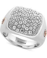 Effy Collection - Men's White Sapphire Cluster Ring (2 Ct. T.w.) In Sterling Silver And 18k Rose Gold - Lyst