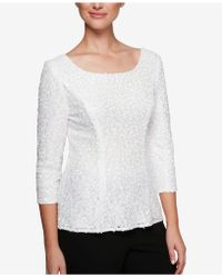 Alex Evenings - Sequined Lace Top - Lyst