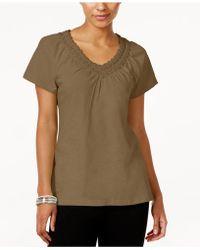 Karen Scott - V-neck Crochet Top, Created For Macy's - Lyst