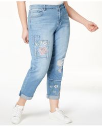 Style & Co. | Plus Size Patched Embroidered Boyfriend Jeans, Created For Macy's | Lyst