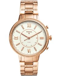 Fossil - Women's Virginia Rose Gold-tone Stainless Steel Bracelet Hybrid Smart Watch 36mm - Lyst