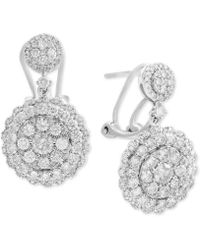 Effy Collection - Diamond Cluster Drop Earrings (2-1/10 Ct. T.w.) In 14k White Gold - Lyst