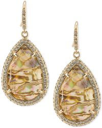 ABS By Allen Schwartz - Gold-tone Pavé & Abalone Stone Drop Earrings - Lyst