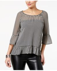 Style & Co. - Petite Gingham Ruffle-trim Blouse, Created For Macy's - Lyst