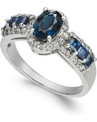Macy's - Sapphire (1-9/10 Ct. T.w.) & Diamond (1/3 Ct. T.w.) Ring In 14k White Gold - Lyst