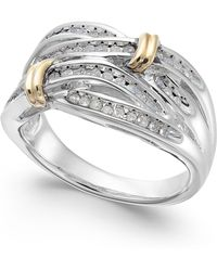 Macy's - Diamond Multi-row Ring In 14k Gold And Sterling Silver (1/4 Ct. T.w.) - Lyst