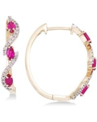 Rare Featuring Gemfields - Certified Ruby (5/8 Ct. T.w.) And Diamond (1/5 Ct. T.w.) Hoop Earrings In 14k Gold - Lyst