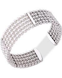 Majorica - Gold-tone Bead & Imitation Pearl Bangle Bracelet - Lyst